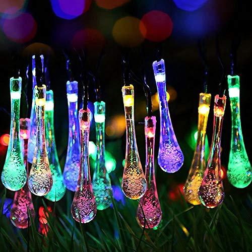 JAY-LONG Solar Lichterketten, 30 LED Bunte Regentropfen Outdoor Landschaft Lampe, Weg, Garten, Rasen, Hof, Korridor, Terrasse, Wasserdichtes Dekor Licht,Colorful,30LED -