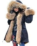 Roiii Winter Women Parka Jacket Warm Vintage Black Faux Fur Thicken Tall Plus Size Hooded Coat (12, Black)