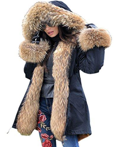 Roiii Winter Frauen Parka Jacken Mantel Schwarz Schatten Faux Pelz Kapuzen Outwear über Mantel UK PLUS GRÖSSE 36 40 42 44 46 48 50 (38/40, Schwarzes)
