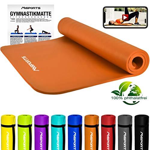 MSPORTS Gymnastikmatte Premium inkl. Tragegurt + Übungsposter + Workout App GRATIS I Fitnessmatte Orange - 190 x 100 x 1,5 cm Hautfreundliche Phthalatfreie Yogamatte