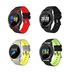 Smart Watch,2.5D Stalinite Glass Round Table Large Screen Sports Intelligent Bracelet Heart Rate Blood Pressure Calorie Test Colorful Screen Bracelet for Android iOS