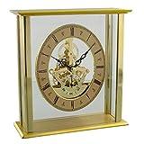 Widdop Moderne Kaminuhr Gold Finish Metall Schreibtisch Uhr mit Oval Skelett Zifferblatt