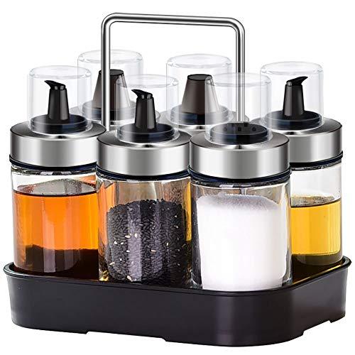 YAJAN-SpiceTank Gewürzflaschen-Set Kreative Küche Gewürzregal Öltopf Salzstreuer Glas Mit Lochabdeckung Regal Gewürzflasche (6 Dosen) Gewürzregal (1) 100 ml