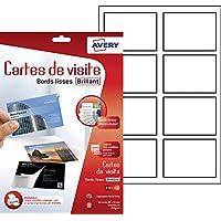 Avery 40 Cartes de Visite à Bords Lisses - 85x54mm - Impression Jet d'Encre - Brillant au recto - Blanc (C32028)