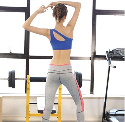 HAPPYMOOD Reggiseno sportivo donna Tracolla singola Design unico Yoga Gli sport Fitness Jogging Palestra Allenamento blue