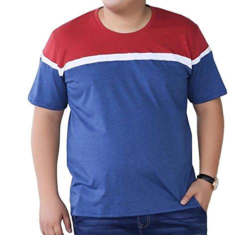 Sommer Größe Männer Kurzarm-T-Shirt Art Und Weise Bannfarbe Kurzhülse Beiläufige Lose Blue