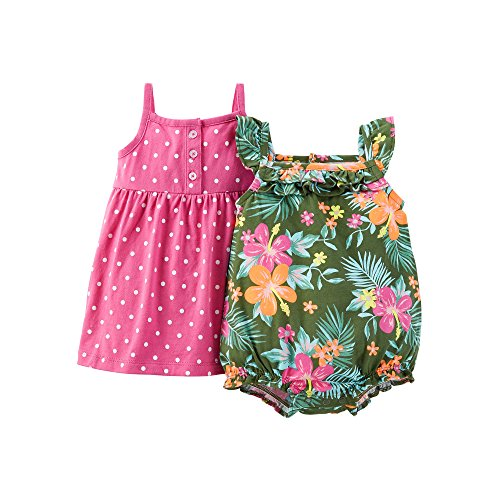 Carter 's Baby/Kleinkind Mädchen 3Stück 'Little Butterfly' Kleid, Strampler & Windel Cover Set, Grün (2 Mädchen Stück Carters)