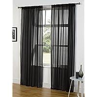 1par de cortinas de gasa con ranura superior, poliéster, negro, 135cmx137cm / 53