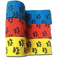 LisaCare Fixierbinde 5cm x 4,5m | 3er-Set Motiv: Pfote in Gelb, Rot, Blau | Kohäsive Bandage | Wundverband | Pflasterverband... preisvergleich bei billige-tabletten.eu