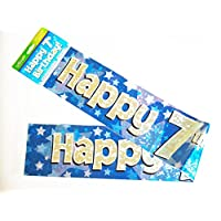 Happy 7th Birthday Banner Age Boy Blue Holographic Wall Kids Party Decorations