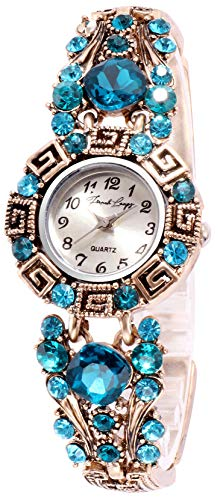French Loops Analogue Bold Blue Jewel Studded Ethnic Party Wear Bracelet Silver Dial Women's Watch FrenchloopsWW6(636)