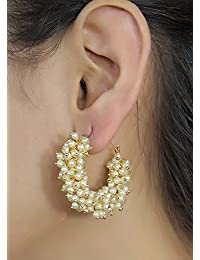 Cairo Traditional Golden Pearl Jhumki Earrings for Women