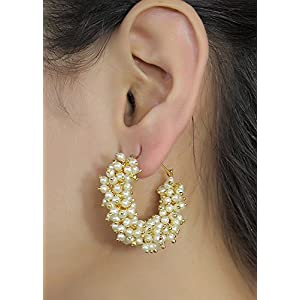 Cairo Traditional Golden Pearl Jhumki Earrings for Women