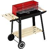 Broil-Master Grill BBQ Holzkohle Grillwagen mit Feuerbox - schwarz/rot, 83 x 77,5 x 39,5 cm
