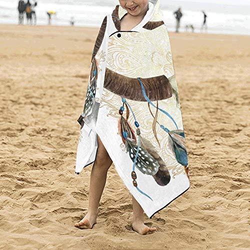 Ethnische Indianer Design Bull Schädel Weiche warme Baumwolle Kinder verkleiden sich mit Kapuze tragbare Decke Badetücher werfen Wrap für Kleinkinder Kind Mädchen Jungen Größe Home Reise Schlaf (Catcher Kit Für Erwachsene)
