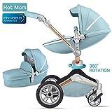 Hot Mom Kombikinderwagen 3 in 1 mit Buggy und Babywanne 2018 neues Design, Baby Autoschale separate erhältlich - komplett Blue