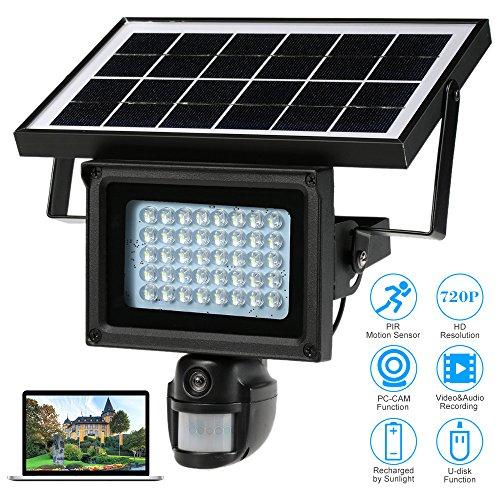 KKmoon 40 IR LEDS Solar Flutlicht Street Lampe 720p HD CCTV Sicherheit Kamera DVR Recorder PIR Motion Detection Sonnenenergie kostenlos eingebaute Lithium Batterie Unterstützung PC-CAM TF-Karte (Vista Wall Frame)