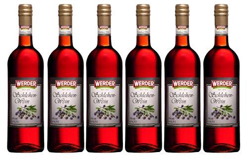 WERDER 6 x Schlehen Wein 0,75 l Alk. 9 % vol