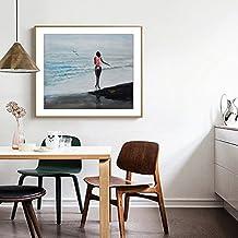 Raybre Art 50cm x 60 cm 100% Pure Pintados a Mano Lienzo al Óleo Lámina sin Bastidor - Cuadros Moderno Abstracto - Pintura al óleo Mujer Paisaje de Playa para Hogar Arte Pared Decoración