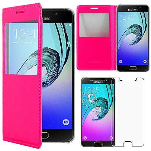 ebestStar - Compatibile Cover Samsung A5 2016 Galaxy SM-A510F Custodia Portafoglio Protezione Libro Flip con Finestra View, Rosa + Pellicola Vetro Temperato [Apparecchio: 144.8 x 71 x 7.3mm, 5.2'']