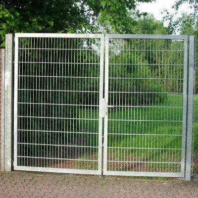 Hoftor Bogentor Mattentor Gartentor silber beschichtet 250cm x 180cm