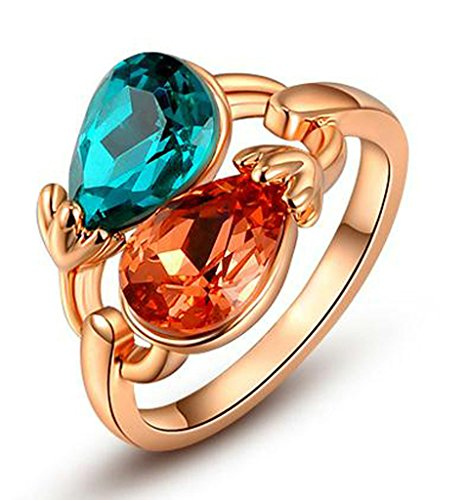Beydodo Vergoldet Damen Versprechen Ringe Doppelt Corlor Läuten Form Größe 57 (18.1) Rose Gold (Rock Lauten)