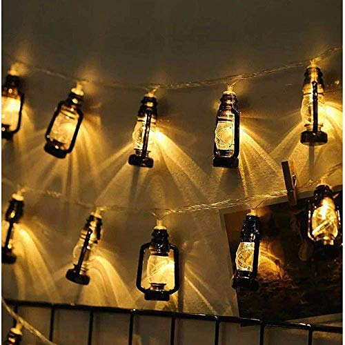 Vintage LED Batterie Kreative Mini Laterne String Fairy Garlan Lights Festival Hochzeit Im Freien,Black20LED(2packs) ()