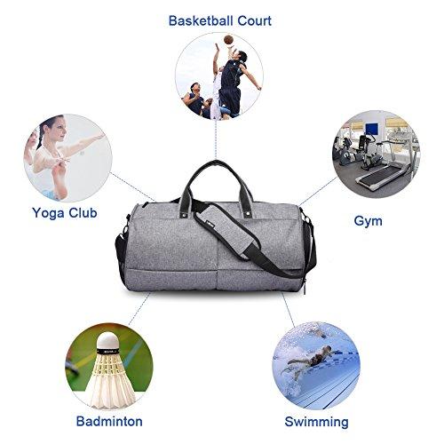 """Gym Taschen 22L Sport Duffel Tasche Wasserdichte Gepäck Cross-Body Taschen mit Schuhen Fach für 17 """"Komm mit einem Handy Aufkleber Grau"""