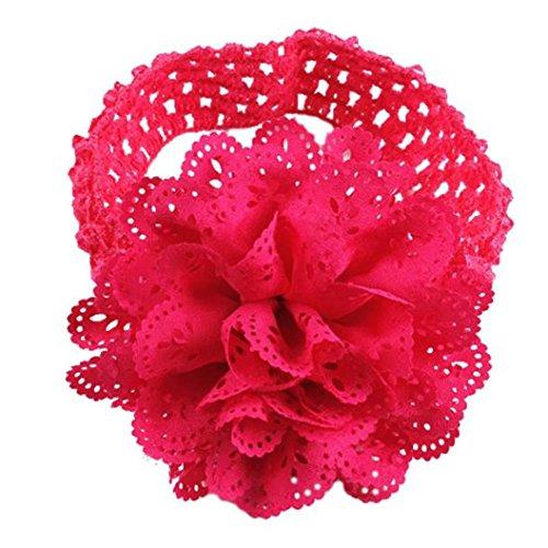 Huhu833 Baby Kinder Mädchen Spitze Blume Haarband Stirnband Dress Up Kopfband (Hot pink)