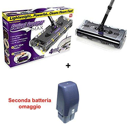 Dobo® scopa rotante elettrica ricaricabile aspirapolvere max rotante doppia batteria