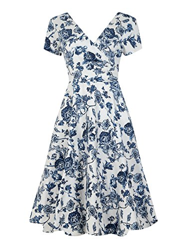 collectif de femmes Vintage 1950évasée en toile Blanc & Bleu Imprimé Maria robe blanc et bleu