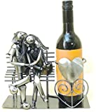 Lucy And Lee Lovers On A Bench Metal Wine Bottle Holder - BNIB