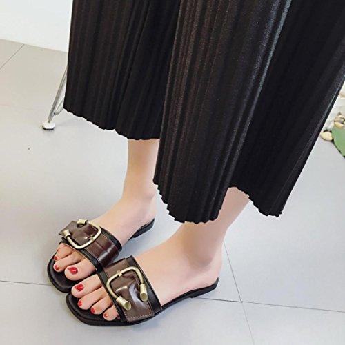 Hunpta Damen Sommer Schuhe Peep-Toe Halbschuhe römischen Sandalen Damen Flip Flops Schwarz