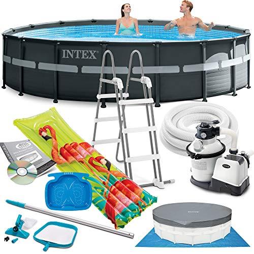 Intex Ultra Frame Swimming Pool 549x132 cm Schwimmbecken Stahlrahmen 26330 Komplett-Set mit Filterpumpe, Bodenplane und Abdeckplane sowie Extra-Zubehör wie: Reinigungsset, Luftmatratze und Fußbad
