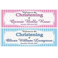 2 Personalised Christening Banners - Welcome to - Any Name & Date - Available for Girl OR BOY (Approx 3ft x 1ft) (Blue)