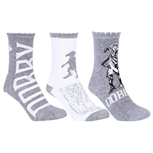 3 x Grey Ankle Socks For Ladies Dobby Design HARRY POTTER
