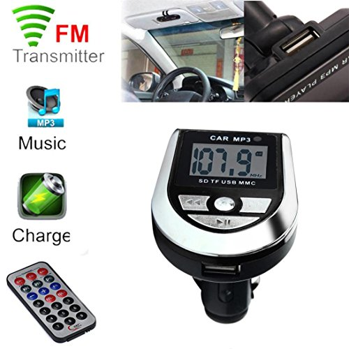 Xshuai 69x46 x 12mm LCD Auto MP3 MP4 Spieler Wireless FM Transmitter Modulator SD/MMC-Karte mit Fernbedienung (Schwarz)