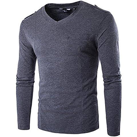Whatlees da uomo Urban Basic-Maglietta a maniche lunghe con collo a V per sottile muscolare