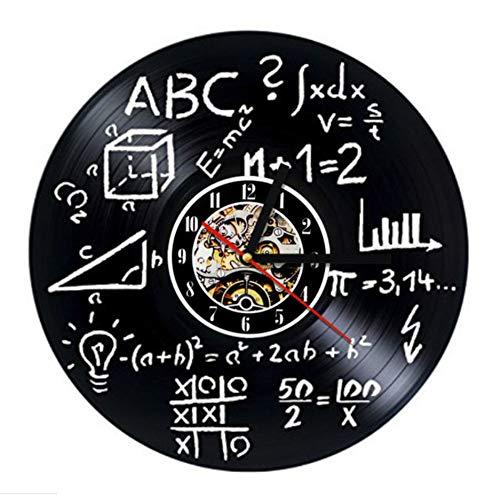 0e0776e7ccfe Knncch Fórmula Matemática Reloj De Registro Reloj De Pared De Vinilo  Geométrico 3D Retro Decoración para
