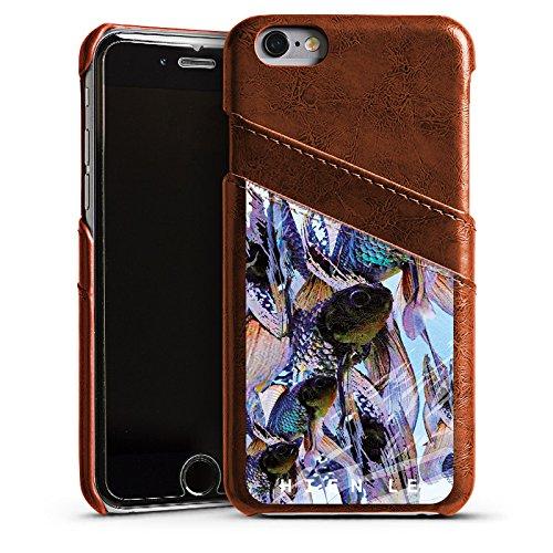 Apple iPhone 5s Housse Étui Protection Coque HIEN LE Fashionweek Poissons Étui en cuir marron