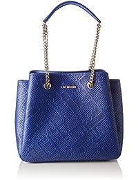 Love Moschino - Borsa Embossed Pu Blu, Henkeltasche Mujer, Blau (Blue), 28x42x17 cm (W x H D)