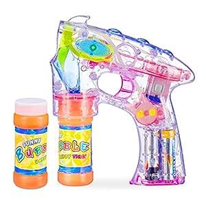 Relaxdays Pistola Pompas con LED y 2 Botes de Jabón, Plástico, Transparente, 18 x 5 x 14 cm, Color (10024937)