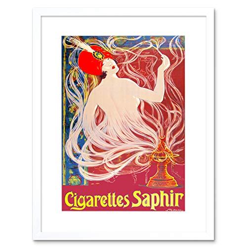 AD CIGARETTES SMOKING TOBACCO SAPHIR TURBAN GENIE SMOKE FRAMED PRINT B12X5634 -