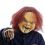 NUWIND Maschera Orrore in Lattice per Bambini Chucky Gioca a Figurines Masquerade Cosplay Halloween Game Maschera da Festa Spaventosa con Capelli castani