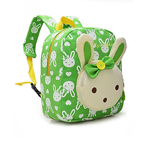 Flyingsky Rabbit Animals Kids Book Backpack Baby Girls School Bag Green