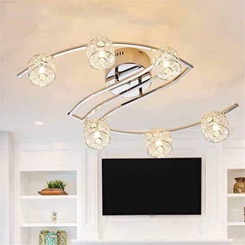 WQRTT Decken Sie moderne Deckenbeleuchtung des Decken-Leuchter-Deckenleuchte-Beleuchtung mit G4 3w LED-Birnen ein,Warm Light - Alle Glas Chrome Kronleuchter