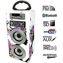 Altavoz Portátil Karaoke con Bluetooth USB SD Micrófono Radio (E025-8)