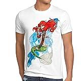 style3 Arielle TATTOO Herren T-Shirt meerjungfrau biker motorrad punk rock, Größe:M;Farbe:Weiß