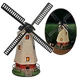 Moulin à vent à énergie solaire avec éclairage lED et aux détails travaillés