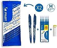 Pilot - Flowpack 2 FriXion Ball, 1 set de 6 recharges & 1 Gomme - Roller effaçable - Bleu - Pointe moy
